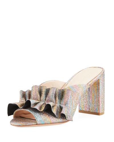 Esme Rainbow Ruffle Chunky Heel Slide Sandal