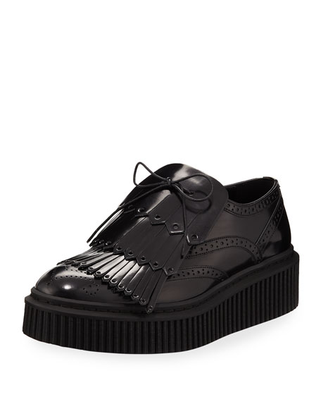 Burberry Chelsam Loafer-Style Lace-Up Sneaker, Black