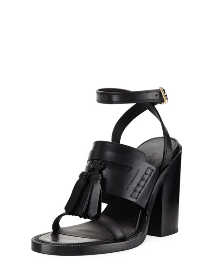 Burberry Bethany Tassel Leather Block-Heel Sandal