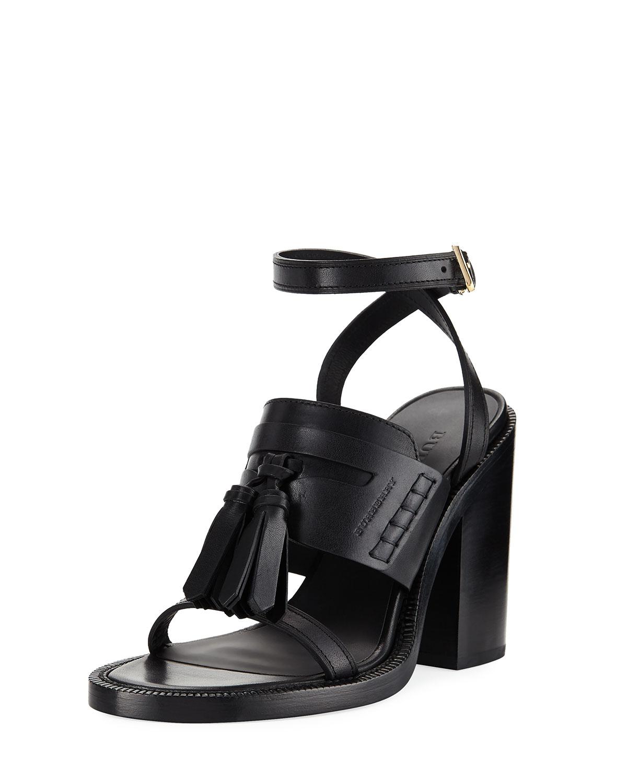 e20298da47d Burberry Bethany Tassel Leather Block-Heel Sandal