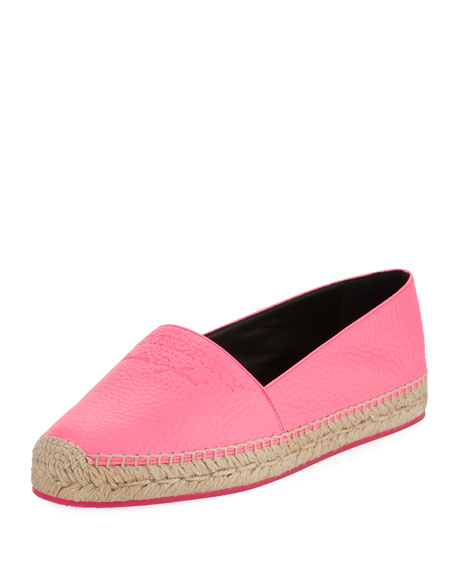 Burberry Hodgeson Logo Neon Leather Espadrille Flat