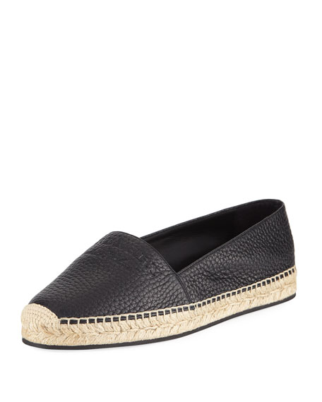 Burberry Hodgeson Logo Leather Espadrille Flat