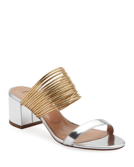 Aquazzura Rendez Vou Metallic Slide Sandal