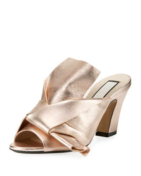 Metallic Leather Chunky-Heel Mule Sandal, Pink