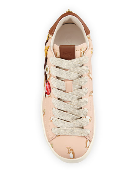C101 Cherries Patches Platform Sneakers, Light Pink