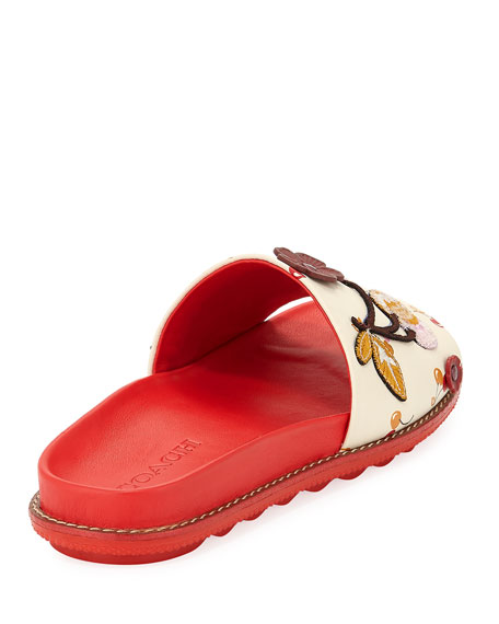 Route 41 Embellished Sport Slide Sandals, Red