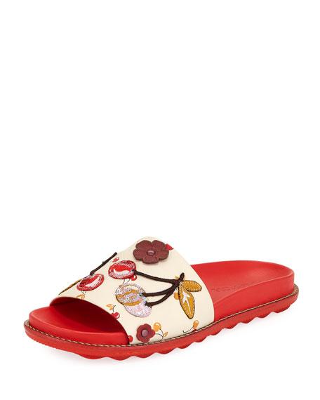 Route 41 Embellished Sport Slide Sandals, Red