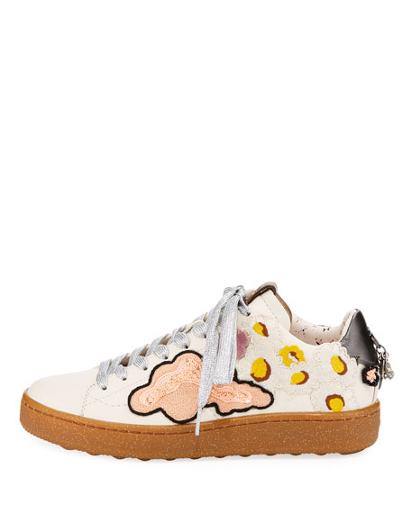 C101 Sneakers with Cloud Patches, White