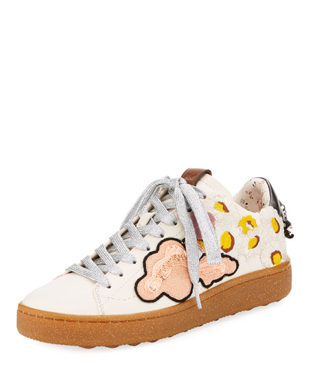 C101 Sneaker with Cloud Patches, White