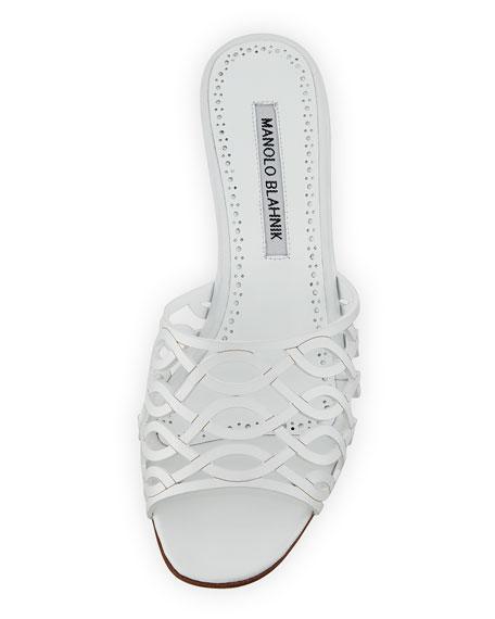 Bensa Cutout Leather Slide Sandal
