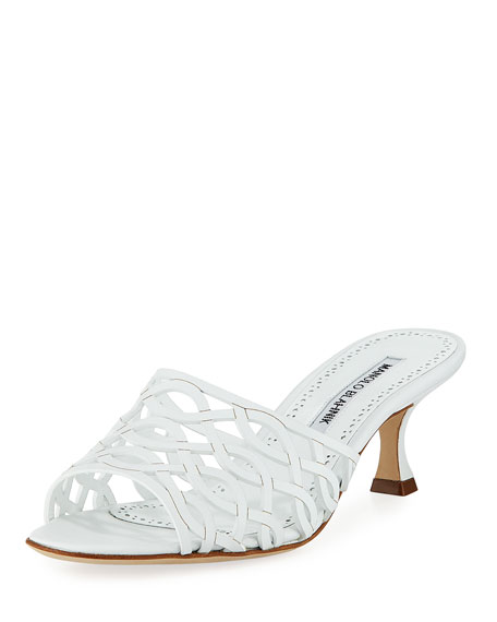 Manolo Blahnik Bensa Cutout Leather Slide Sandal