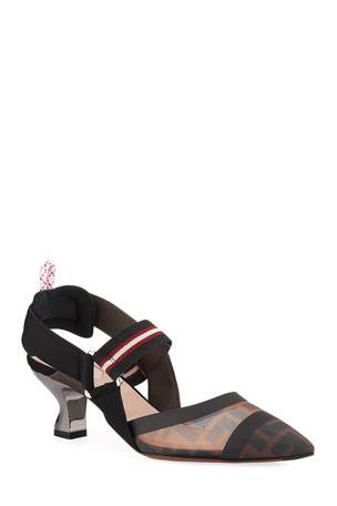 Fendi Colibri Runway Mesh FF Slingback Pumps