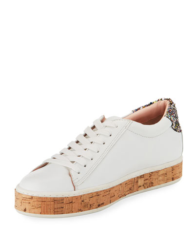 amy cork embellished sneaker, white