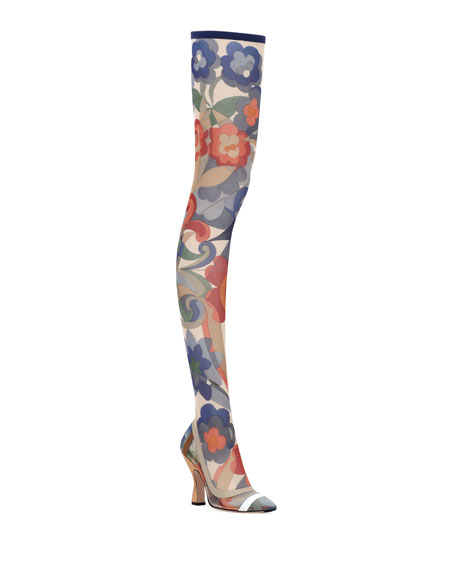 Runway Over-The-Knee Floral Mesh Boot
