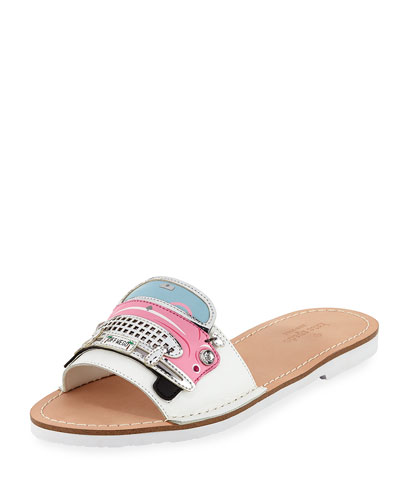 isla car-print slide sandal