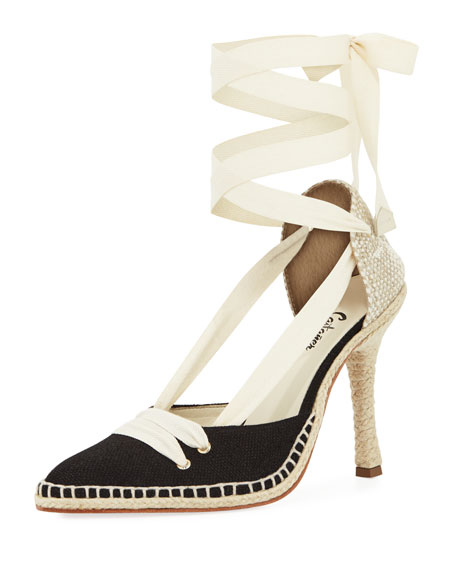 Castaner Canvas Two-Tone Espadrille Pump, Cream