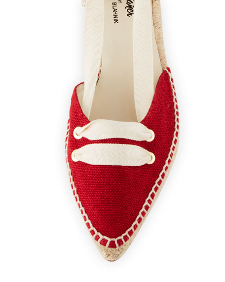 Flat Lace-Up Two-Tone Espadrille, Cream/Red
