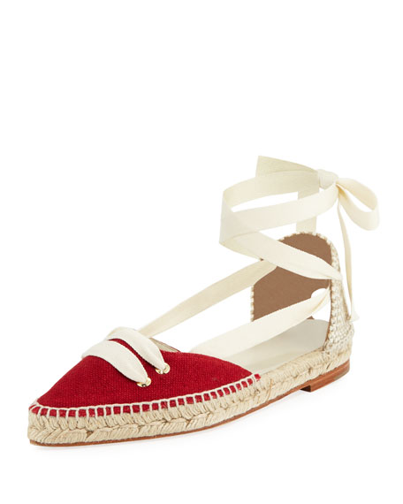 Castaner Flat Lace-Up Two-Tone Espadrille, Cream/Red