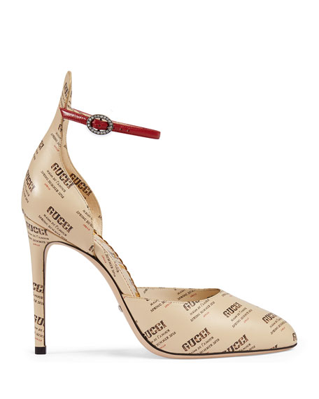 105mm Invite Stamp Ankle-Strap d'Orsay Pumps