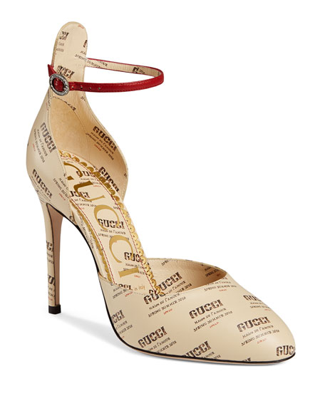 Gucci 105mm Invite Stamp Ankle-Strap d'Orsay Pumps