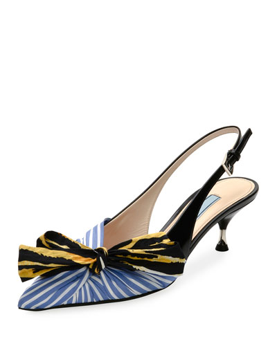 Colorblock  Fabric Slingback Pump