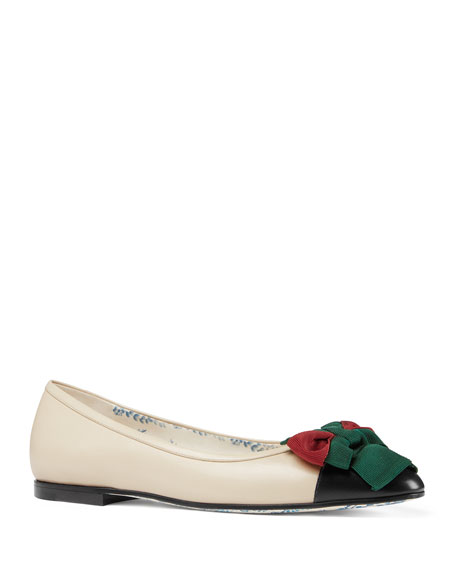 Gucci Jane Leather Ballerina Flat with Bow