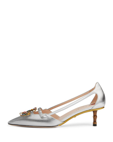 Jewel-GG Metallic Leather Pump