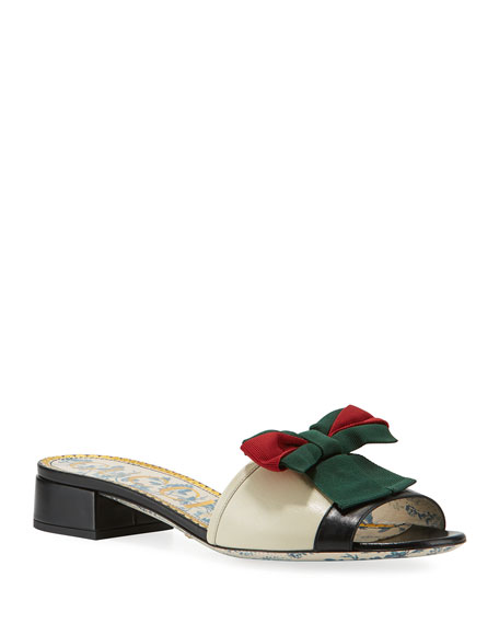 Gucci Jane Leather Slide Sandal with Web Bow