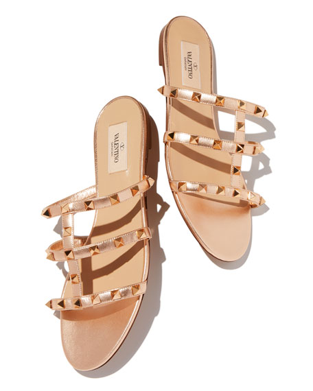 Rockstud Metallic City Flat Slide Sandals