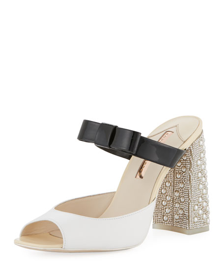 Andie Embellished Two-Tone Leather Mule Sandal