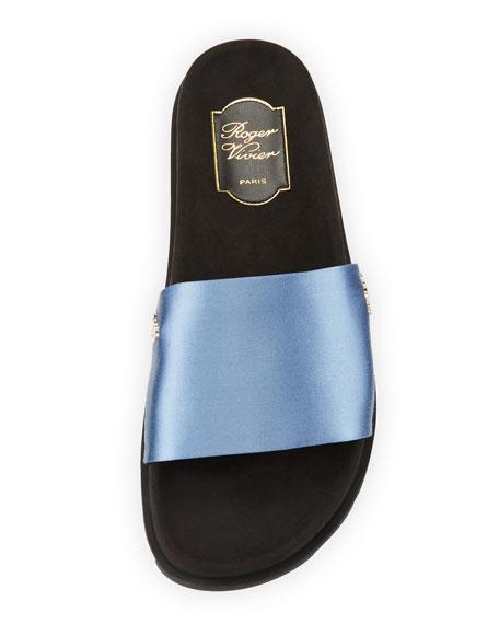Slidy Viv Strass Satin Pool Slide Sandal