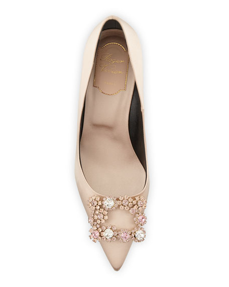 Flower Strass Satin Pumps, Champagne