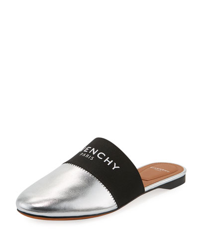 Bedford Flat Metallic Leather Logo-Web Mules