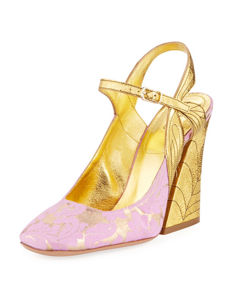 Dries Van Noten Metallic Flare-Heel Pumps