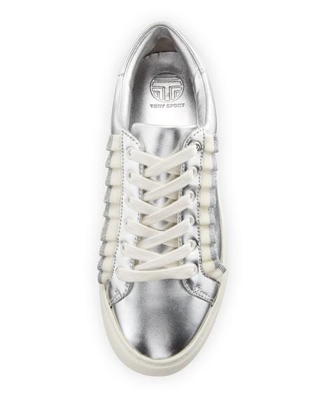 Ruffle Metallic Leather Low-Top Sneakers