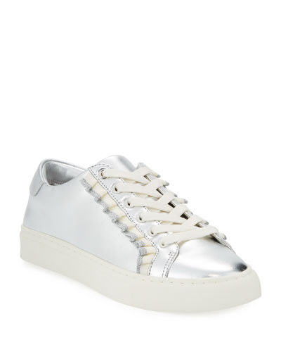 Ruffle Metallic Leather Low-Top Sneakers