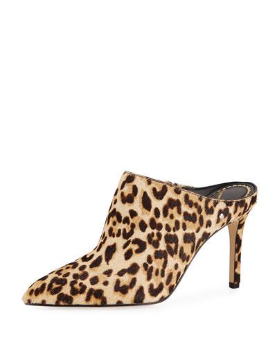 Oran Leopard-Print Calf Hair Mule Pump