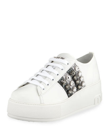 Miu Miu Leather Platform Sneakers with Jeweled Stripes