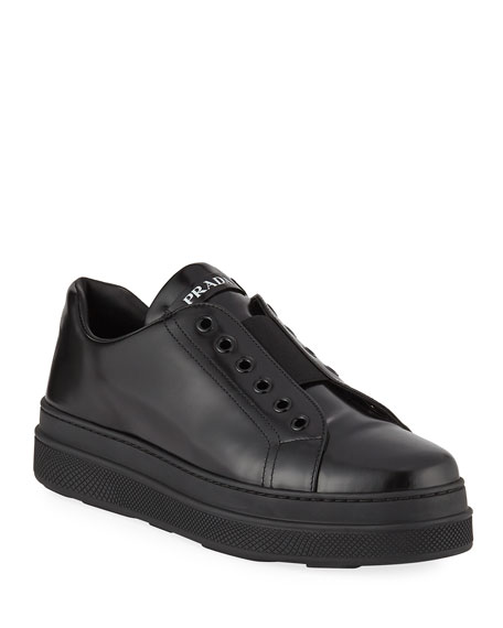 Prada Leather Slip-On Low-Top Sneakers