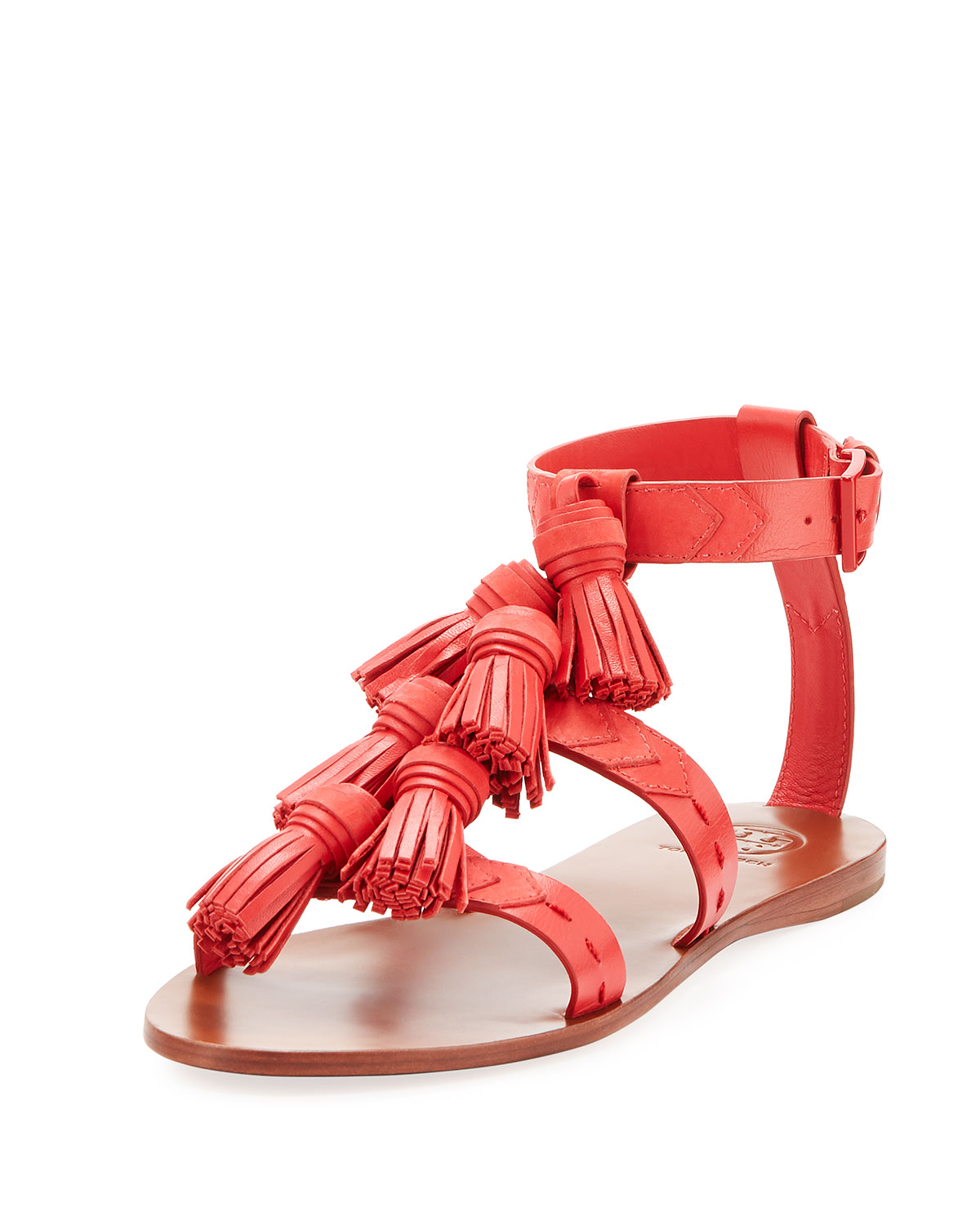9f1db14e100f76 Tory Burch Weaver Leather Tassel Sandal