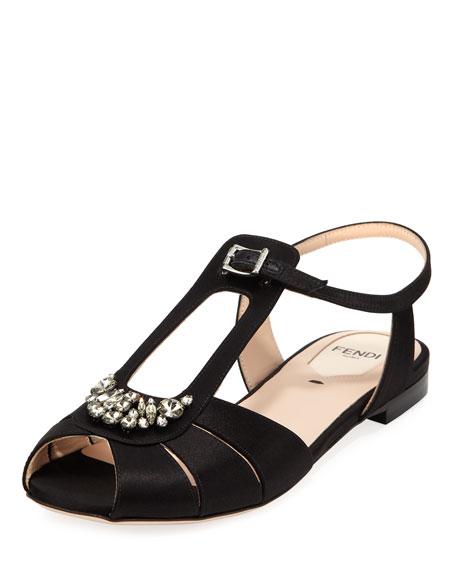 Chameleon Flat Jeweled Satin Sandal