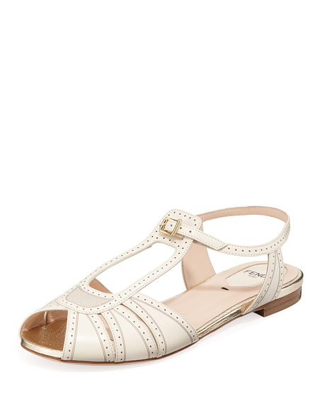 Chameleon Brogue Leather Flat Sandal