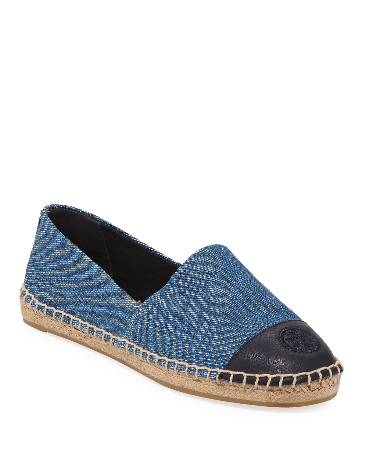 16675002611b Tory Burch Colorblock Denim Flat Espadrille