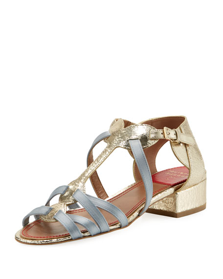 Woven Satin & Metallic Leather Sandal