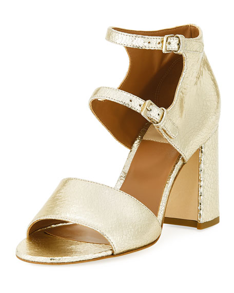 Laurence Dacade Randall Crackled Metallic Leather Block-Heel