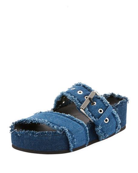 Evin Denim Platform Slide Sandals, Blye Denim