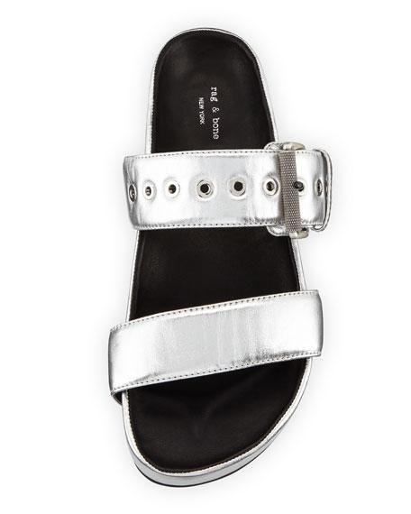 Evin Metallic Platform Sandals, Silver