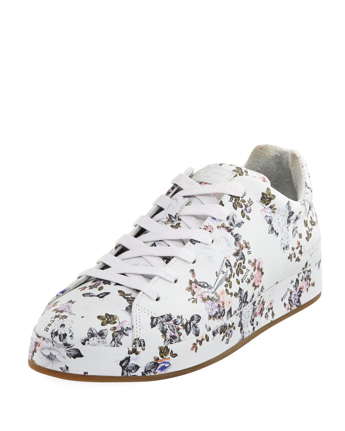 RAG&BONE Women's Floral Print Leather Lace Up Platform Sneakers RO3zT