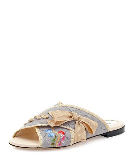Fendi Crisscross Knit Slide Sandal