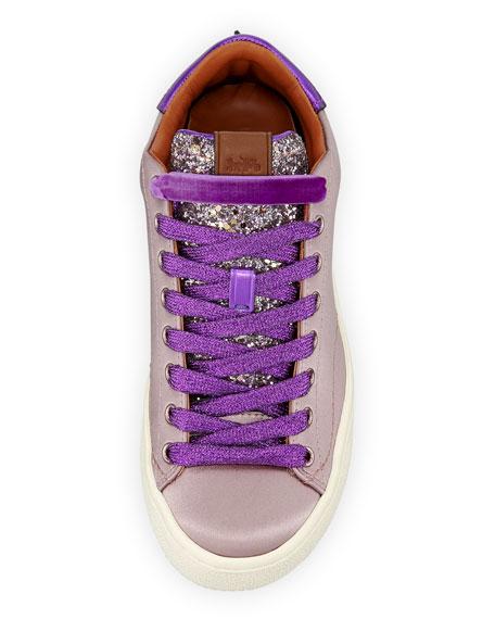 Satin Glitter Platform Sneakers